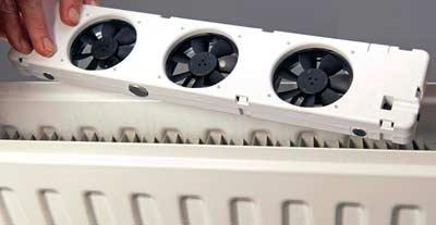 Ventilatoren om conventionele radiatoren op lage temperatuur te laten werken